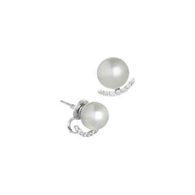Timeless White South Sea Pearl and Diamond Earrings