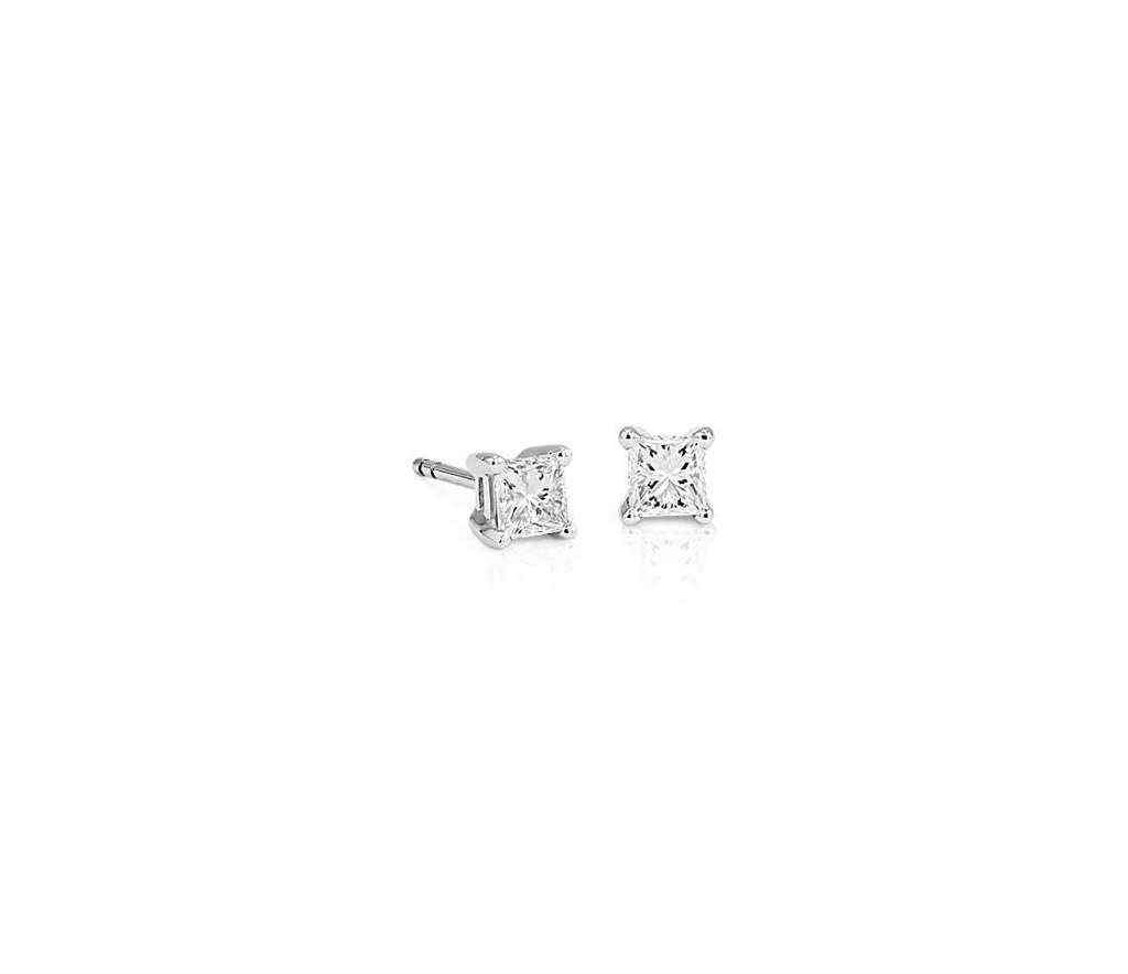 Princess Cut Solitaire Earrings