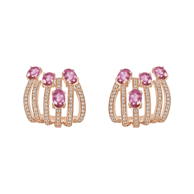 Pink Sapphire and Diamond Spectrum Earrings