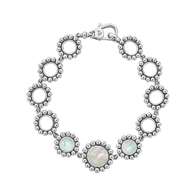 White Mother of Pearl Maya Circle Link Bracelet