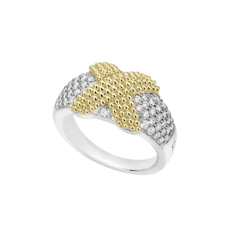 Caviar Lux Diamond Center X Wrapped Pave Ring