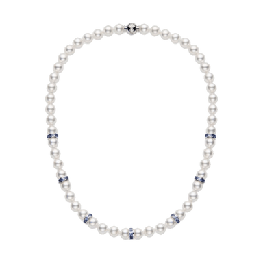 Akoya Pearl and Blue Sapphire Ocean Collection Necklace