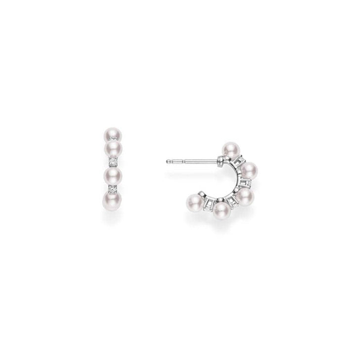 Akoya Pearl and Diamond Hoops