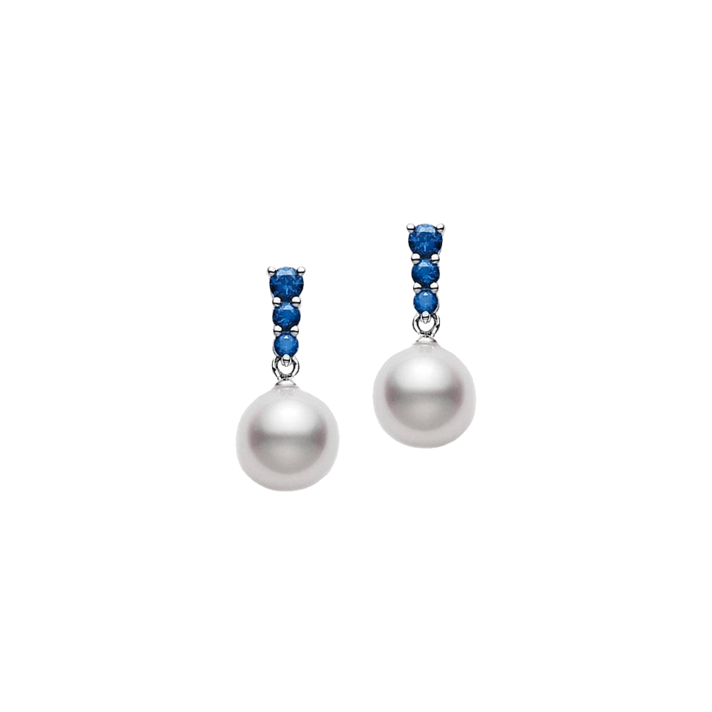 Akoya Pearl and Blue Sapphire Morning Dew Earrings