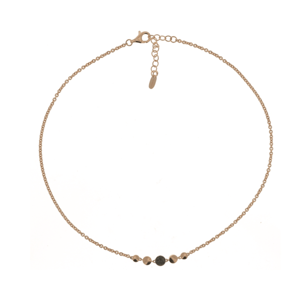 POLVERE CIRCLE NECKLACE - ROSE GOLD & DARK BROWN DUST