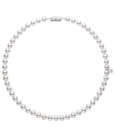 "18K White Gold 18"" AA Pearl Necklace"