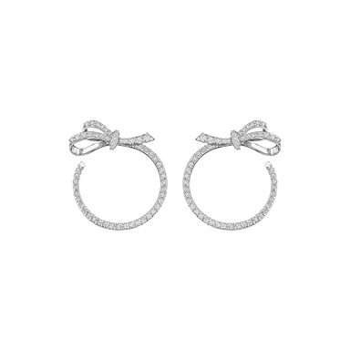 Diamond Forward Facing Bow Hoop Earrings