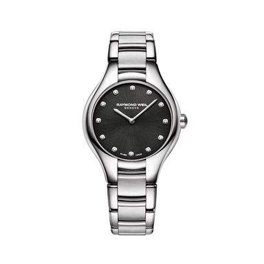 Noemia Ladies Diamond Dial Black Quartz Watch