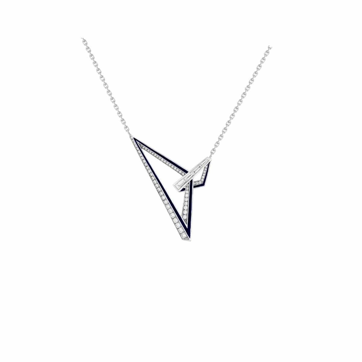 VERTIGO OBTUSE PAVÉ NECKLACE White Gold