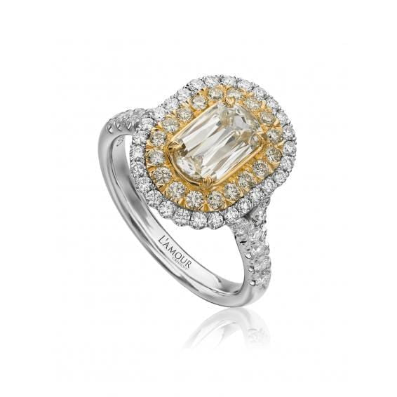 18K Yellow & White Gold Double Halo Ring
