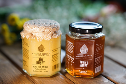 two jars of honey lime and thyme