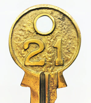 "Heavy & Large Brass Key Marked ""21"""