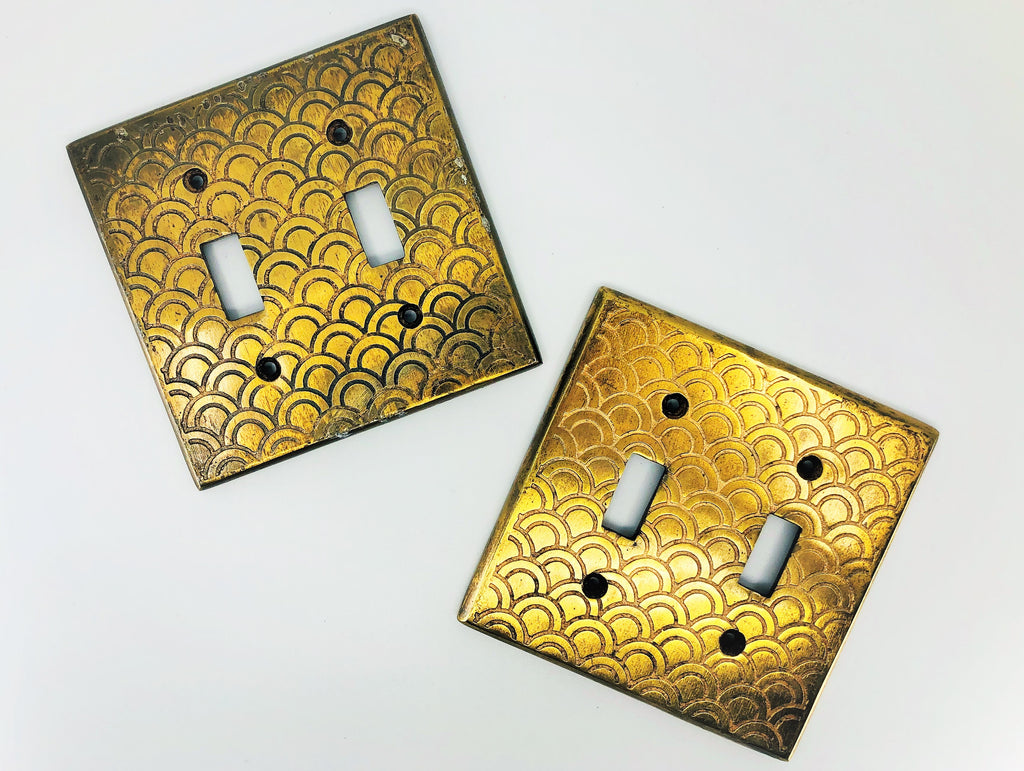 Etched Brass Double Switchplates, Set of 2