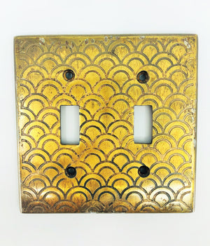 Etched Brass Plated Double Switchplates, Set of 2