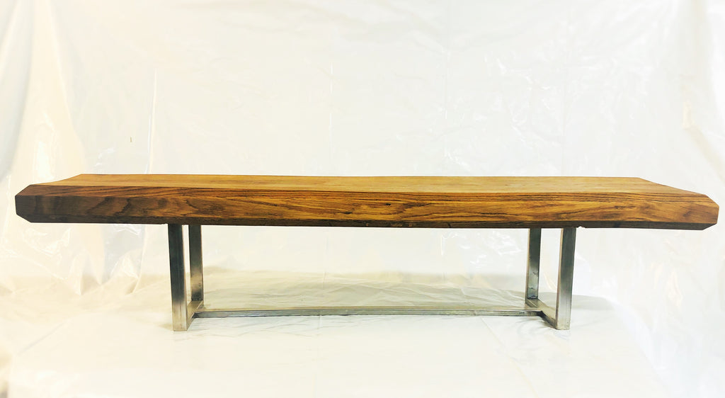 Custom Crafted Long Island Oak & Stainless Steal Bench