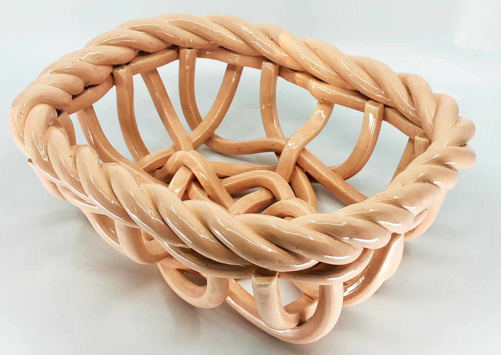 Ceramic Hand Made Woven Blush Basket