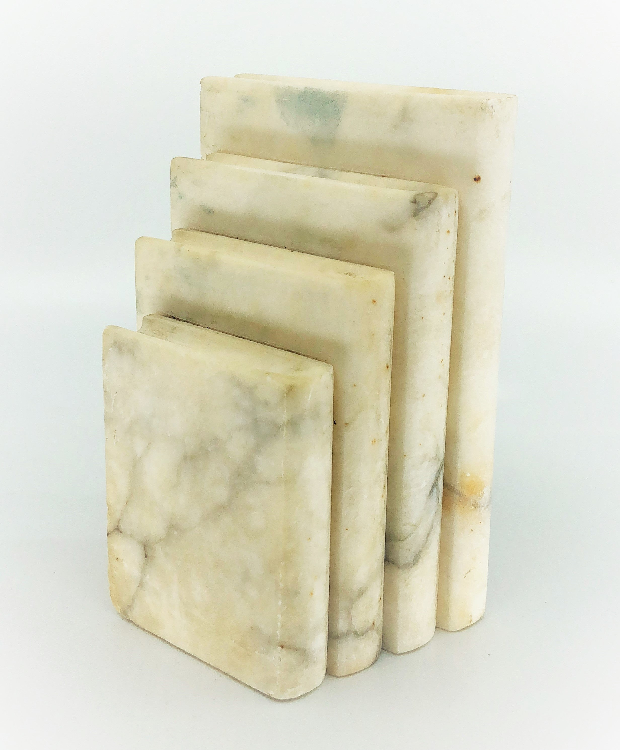 Vintage Italian Marble Stacked Books Bookend