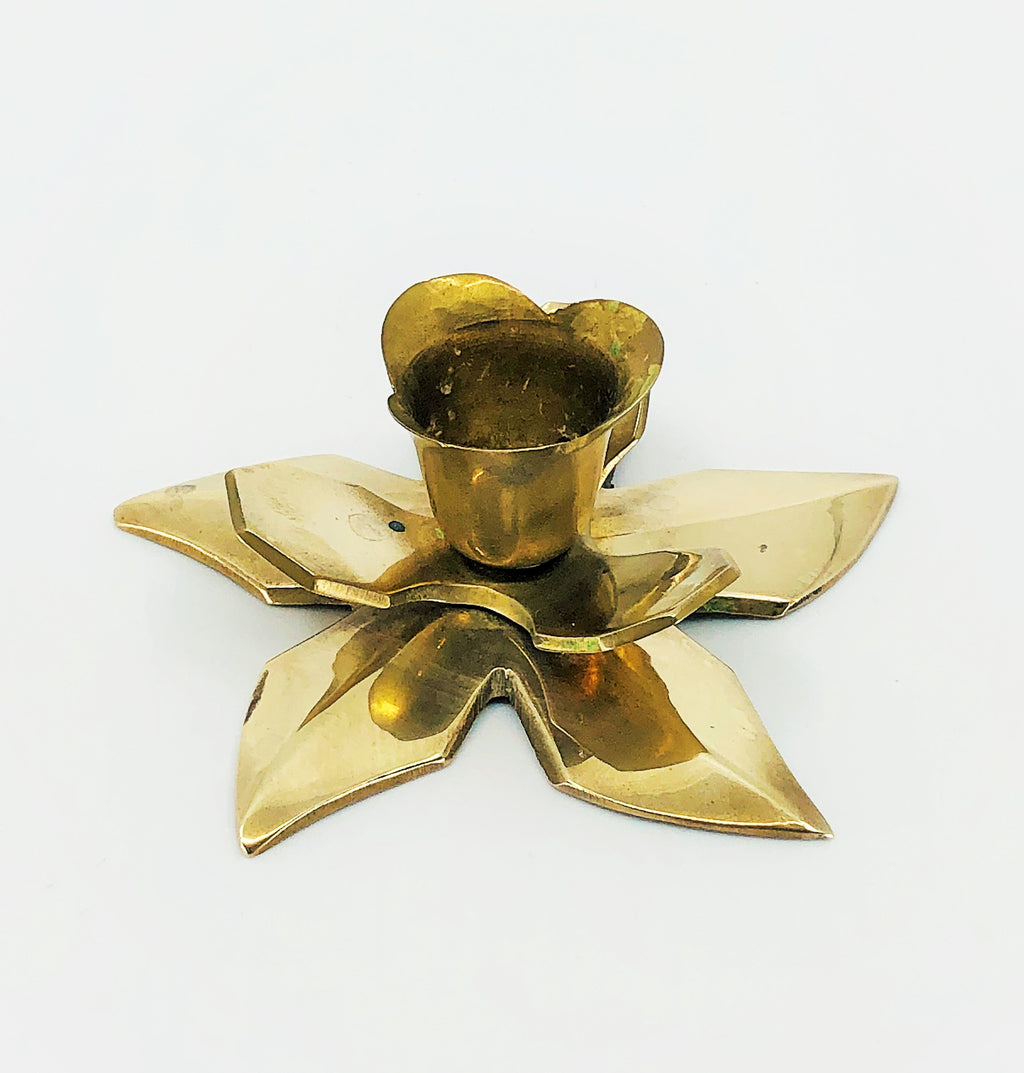 Vintage Brass Figural Flower Candle Holder