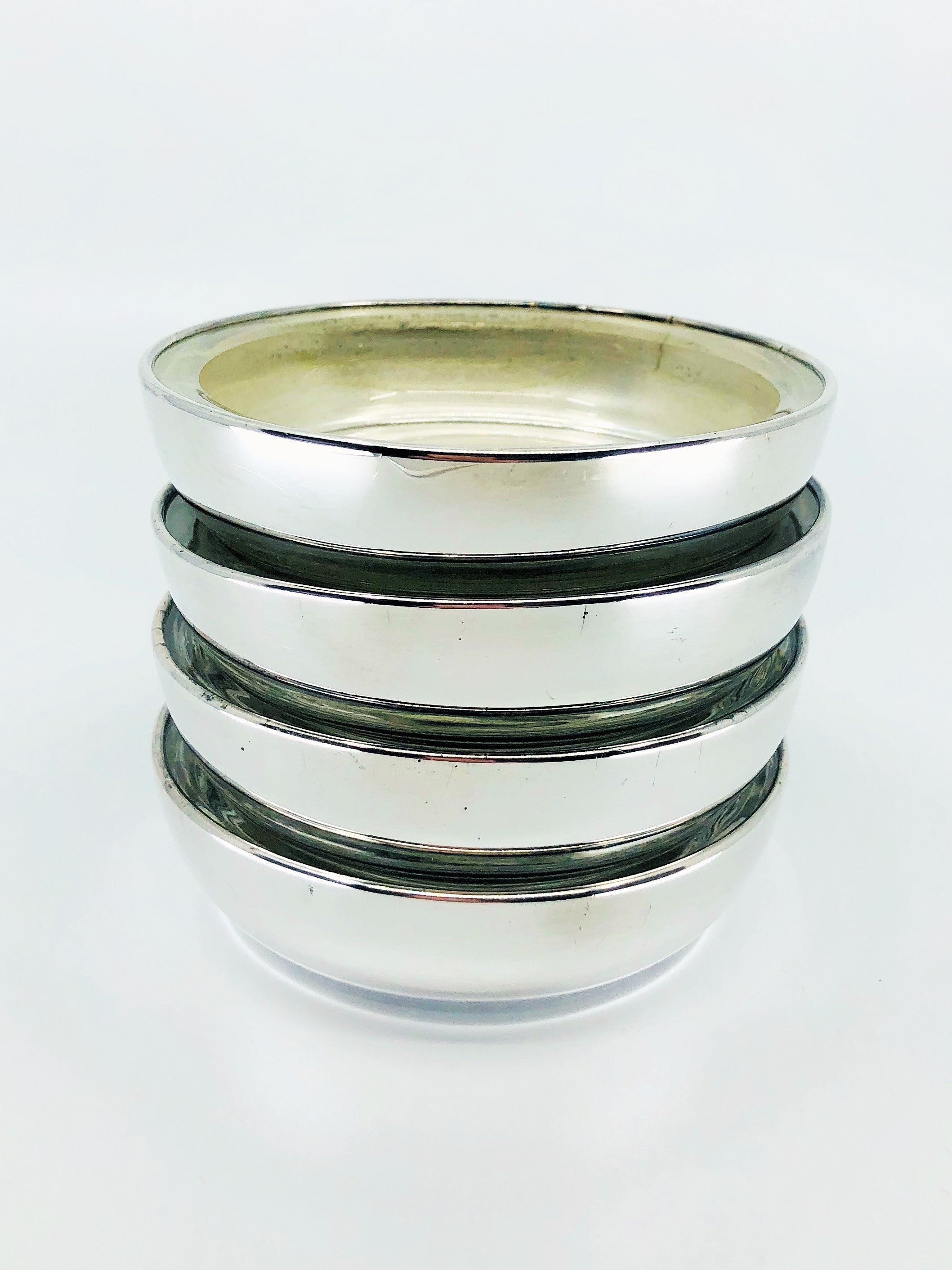 Vintage FB Rogers Silver plated Glass lined Coasters-Ashtrays