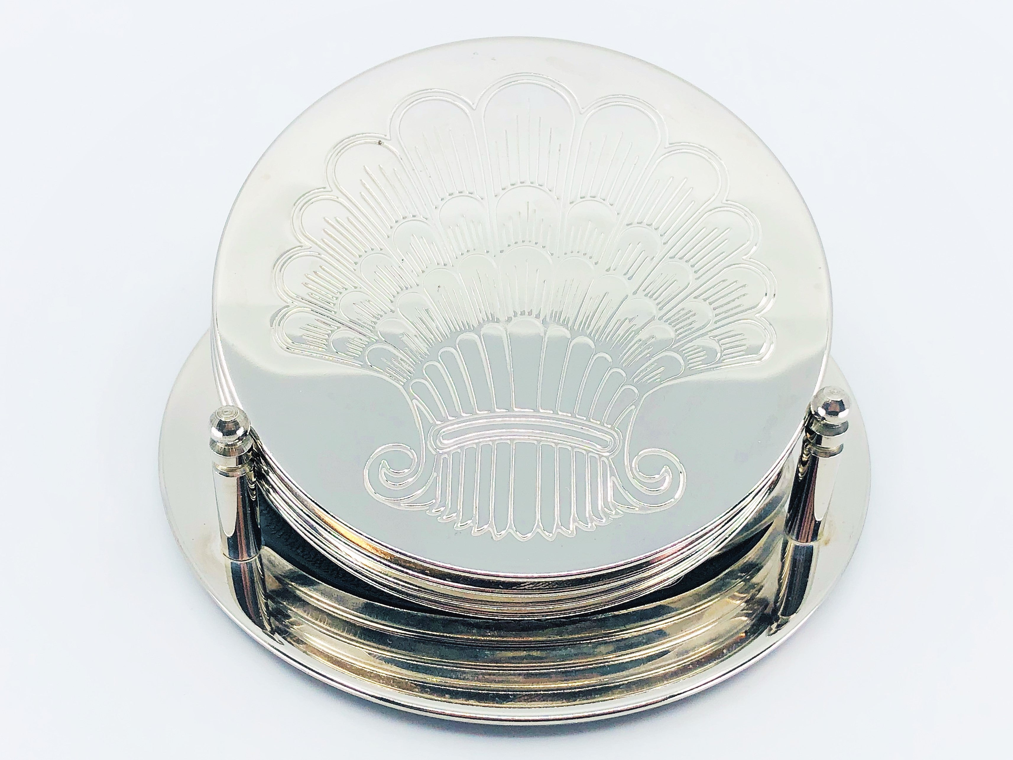 Vintage Silver Plate Coaster Set With Matching Holder - Set of 5