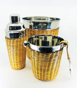 Stainless Steel & Rattan 4 Piece Bar Set