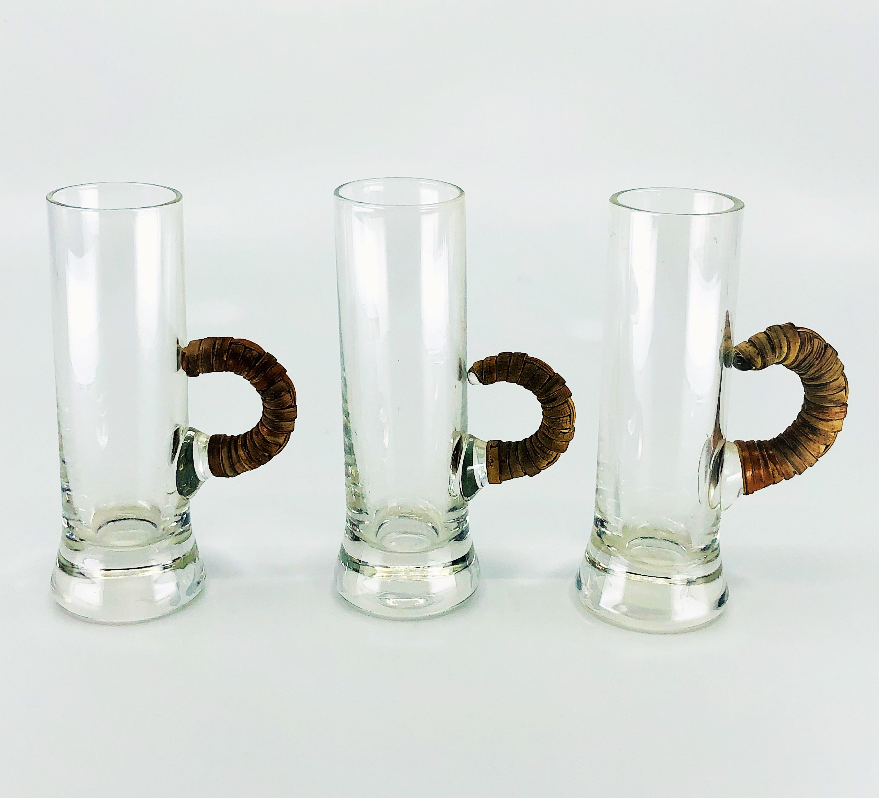 Retro Scandinavian Style Shot Glasses with Wicker Handles, Set of 3