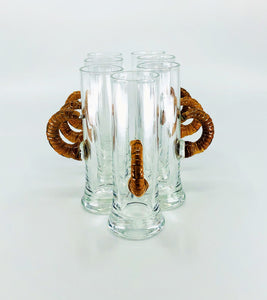 Retro Scandinavian Style Shot Glasses with Wicker Handles, Set of 10*