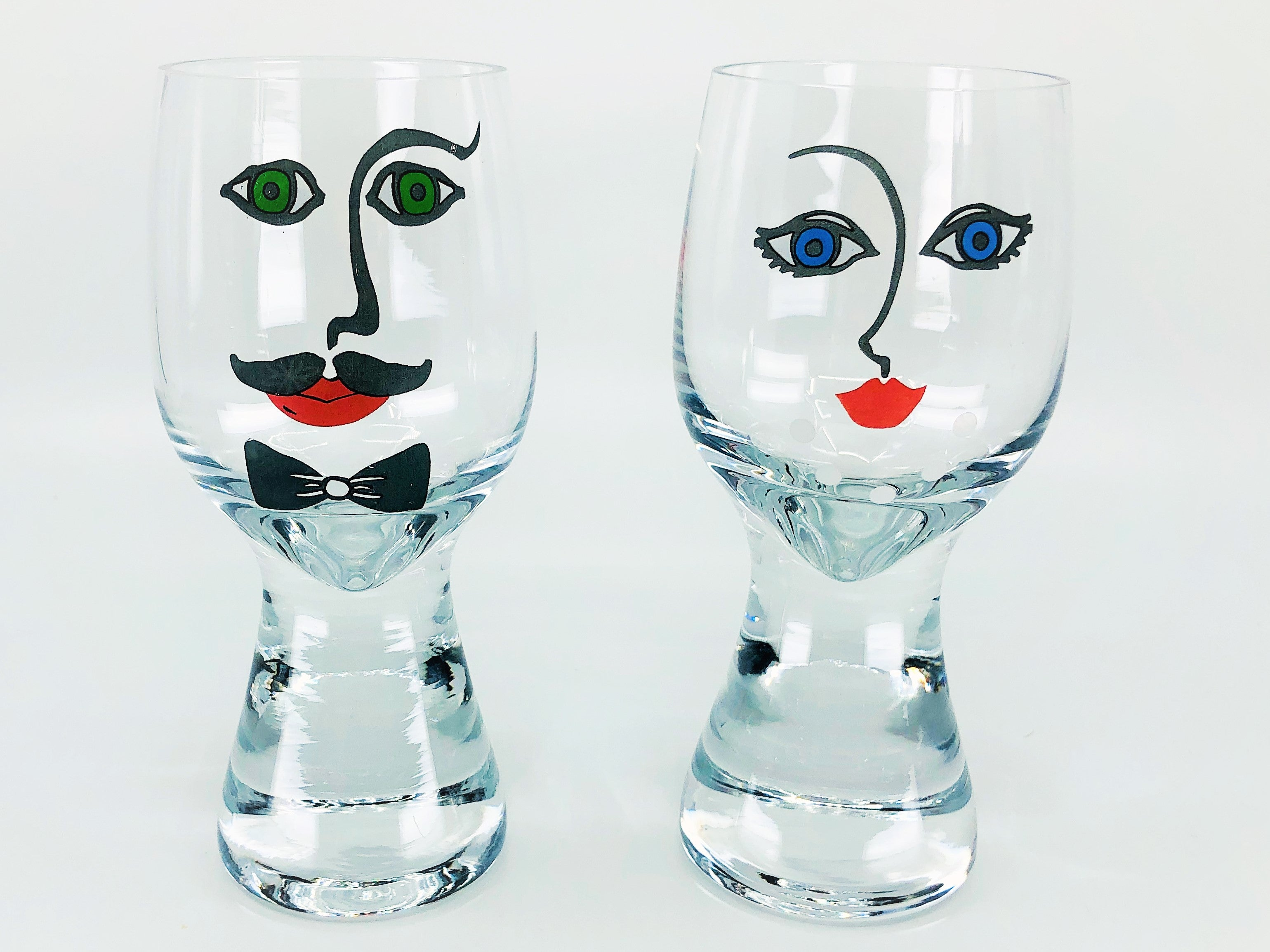 Pair of Vintage Mustache Man & Woman Figural Face Drinking Glasses