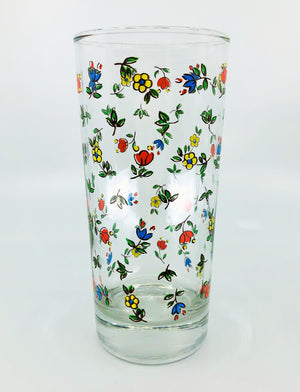 Pair of Vintage Floral Print Drinking Glasses