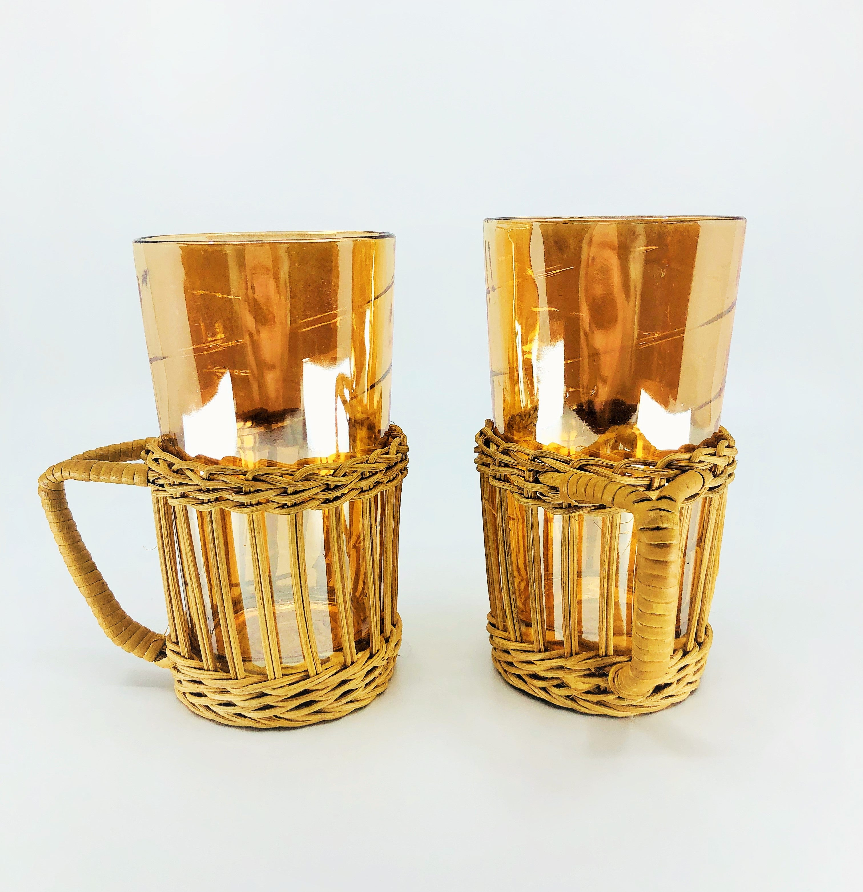 1960s Jeanette Glass Iridescent Marigold Highball Glasses, Set in Wicker Handles