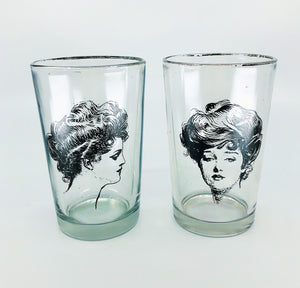 "S/2 Vintage Women ""Portrait"" Drinking Glasses"