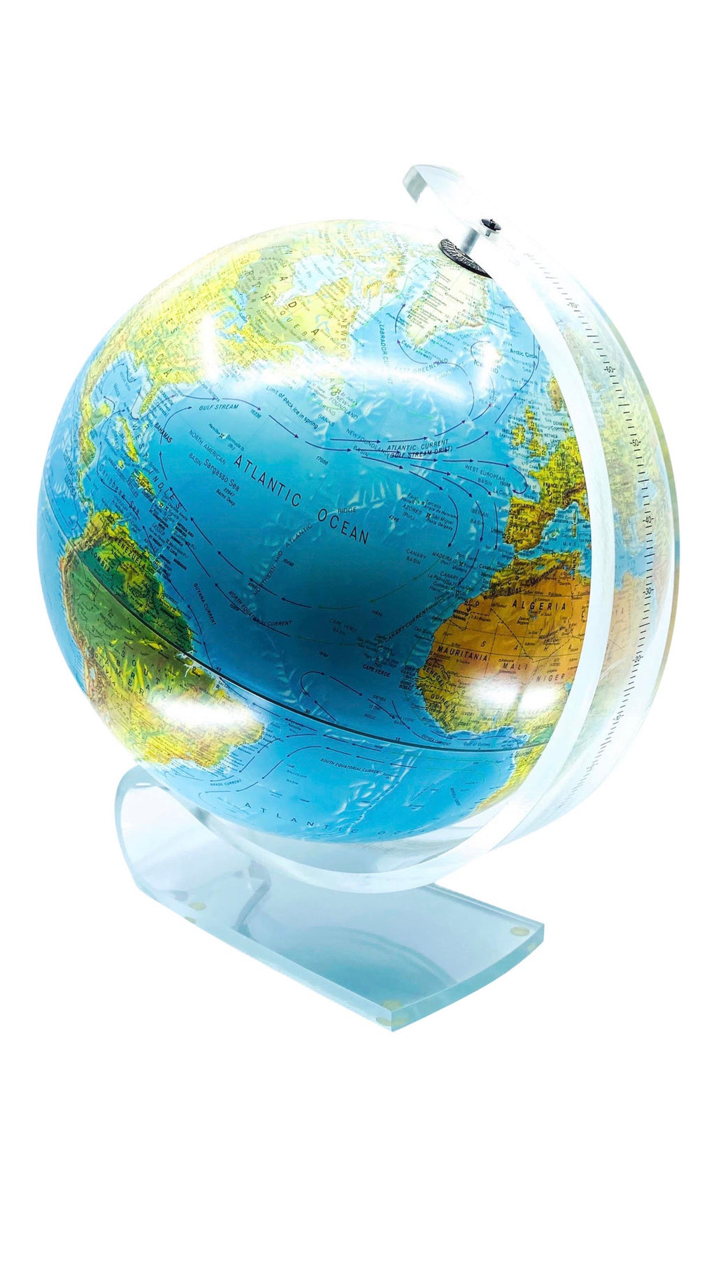 World Globe Lamp With Lucite Base