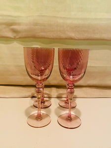 Pink Iridescent Tall Goblet Glasses