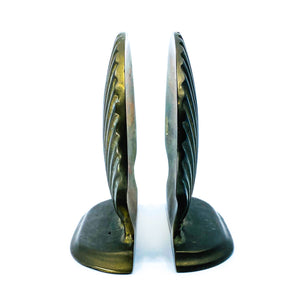 Large Brass Shell Bookends