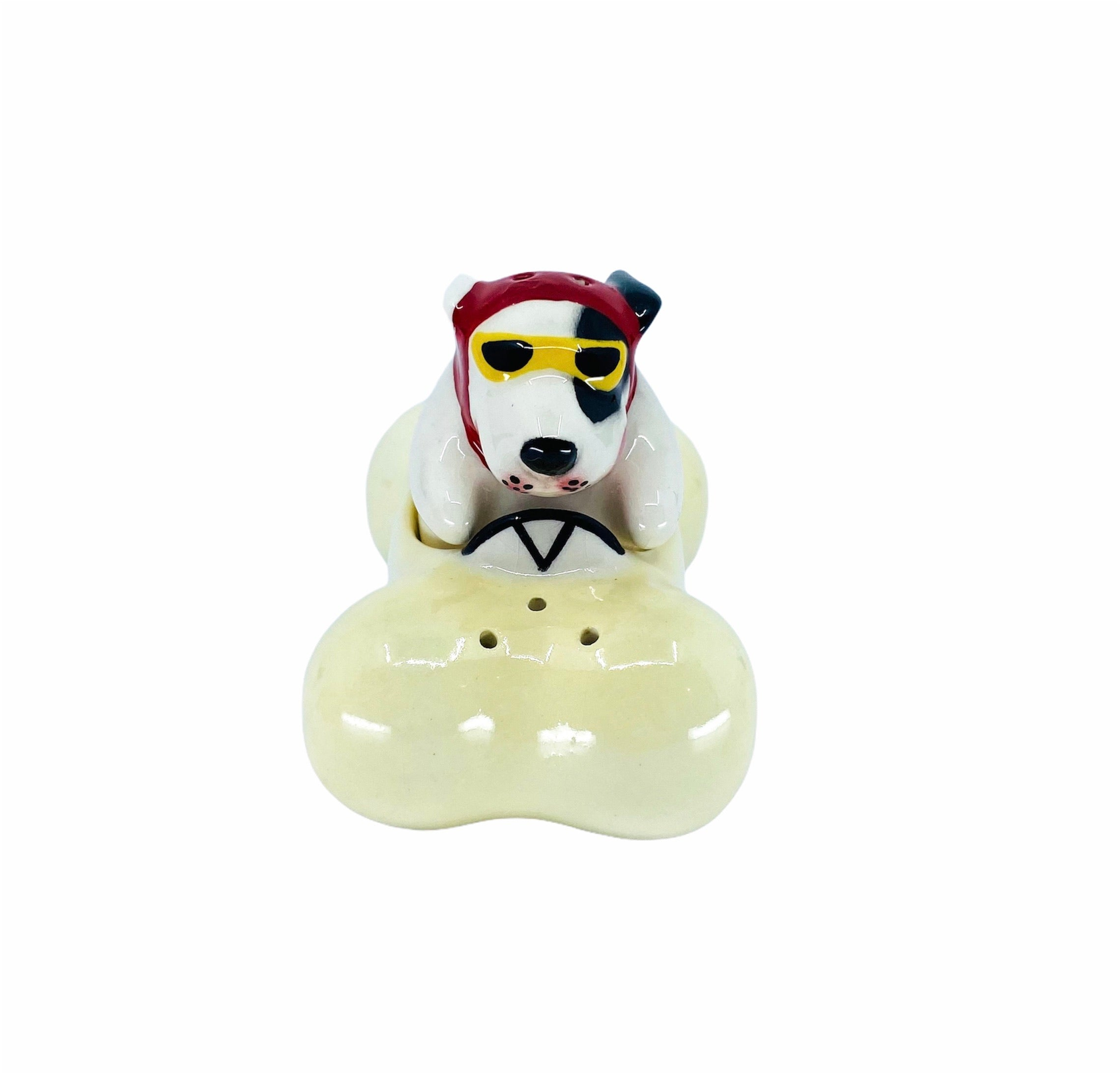 Vintage Dog Driving Bone Car Salt & Pepper Shaker