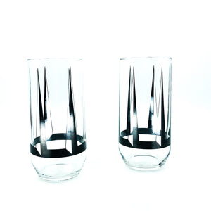 S/2 MCM Atomic Style Drinking Glasses