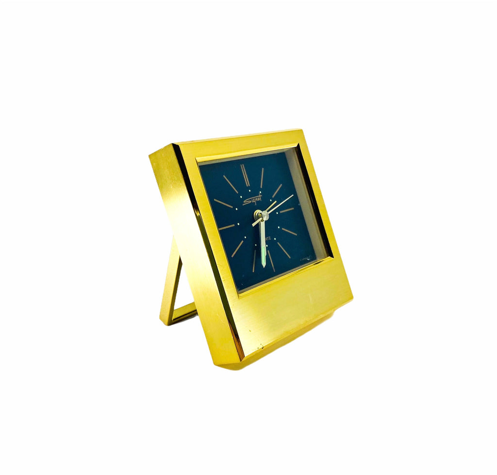 Vintage Signet Quartz Brass Compact Clock, Made in Japan