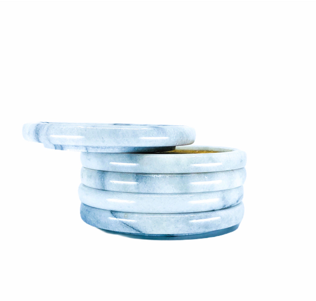 S/5 Stackable White Marble Coasters