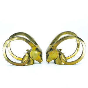 Brass Rams Head Bookends