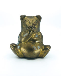 Vintage Gilt Brass Sitting Panda Bear