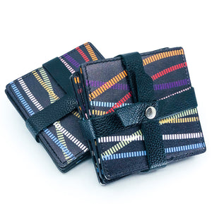 S/4 Made in Italy Black Leather Coasters with Multi Color Design, 2 Sets Available