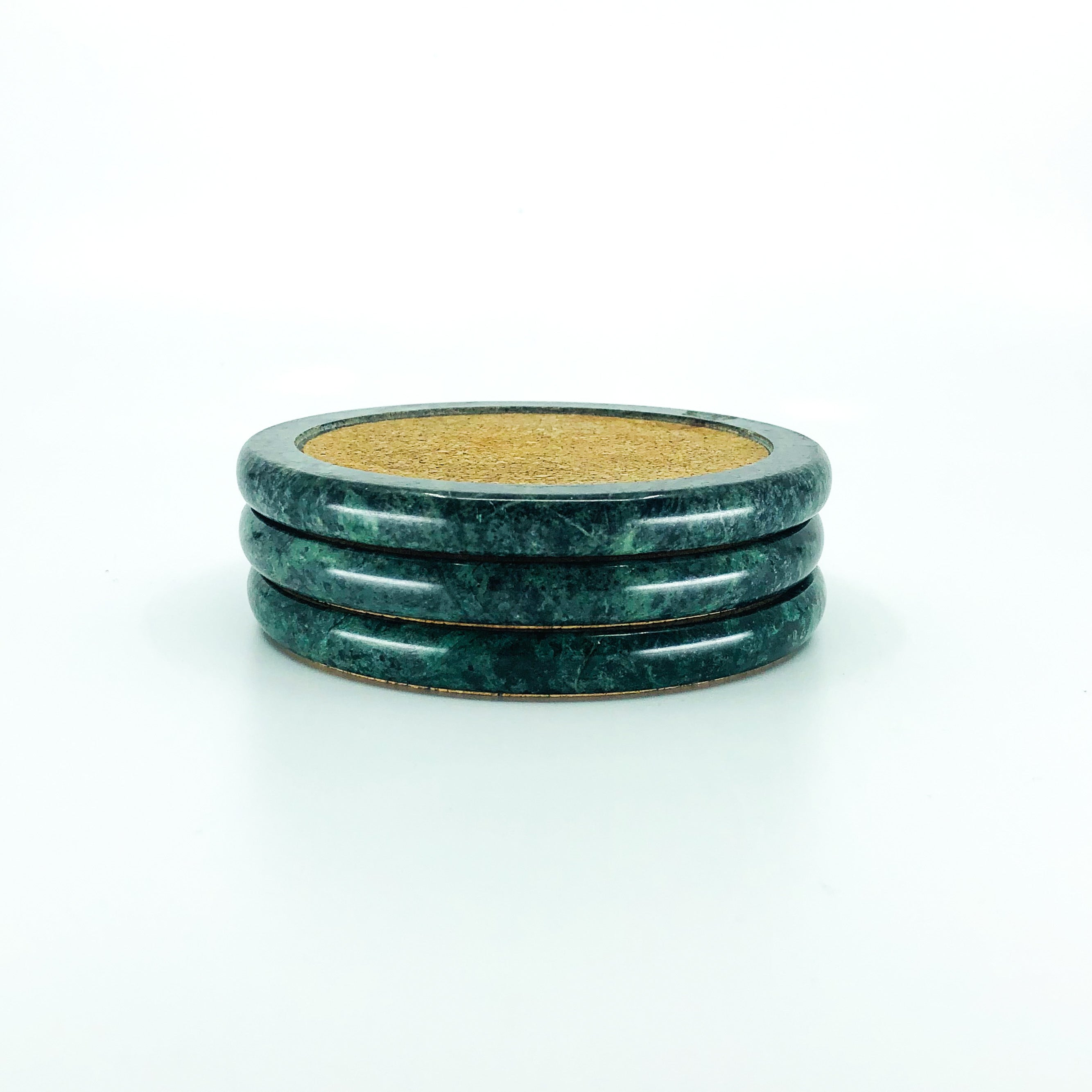 S/3 Green Marble Corked Coasters