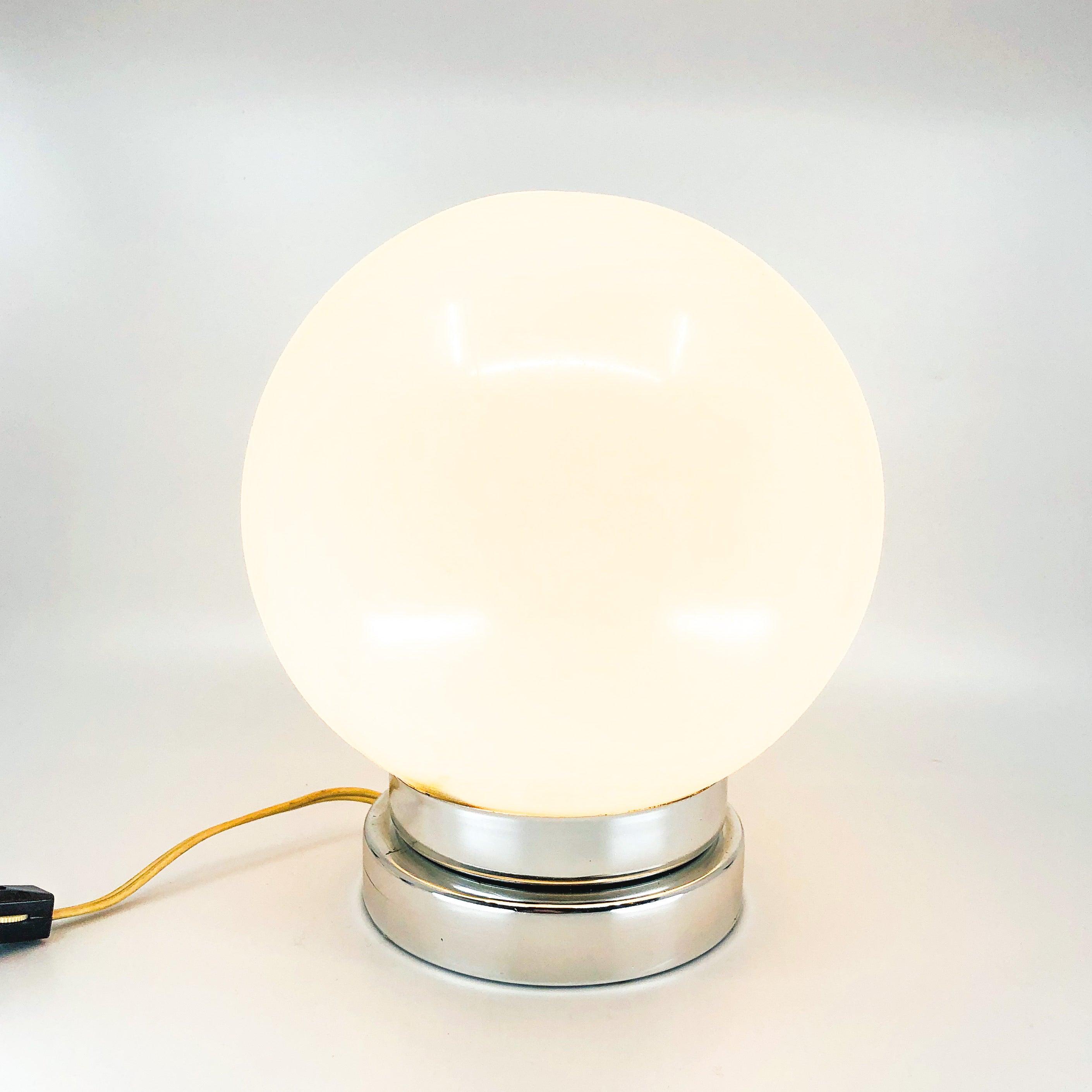 Large Plastic Globe Lamp with Chrome Base
