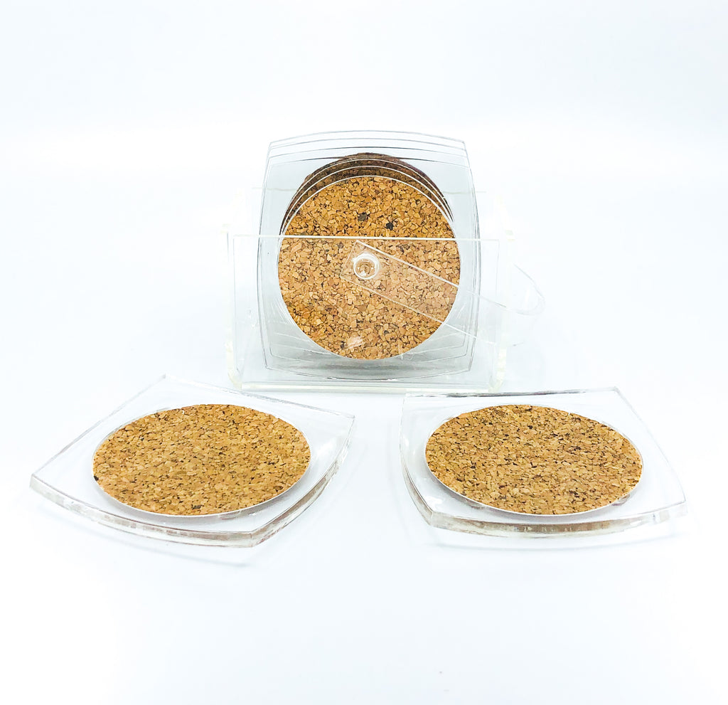 S/6 Square Lucite and Cork Coasters with Caddy