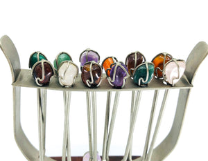 S/12 Gemstone Hor D'oeuvre Party Picks with Stand