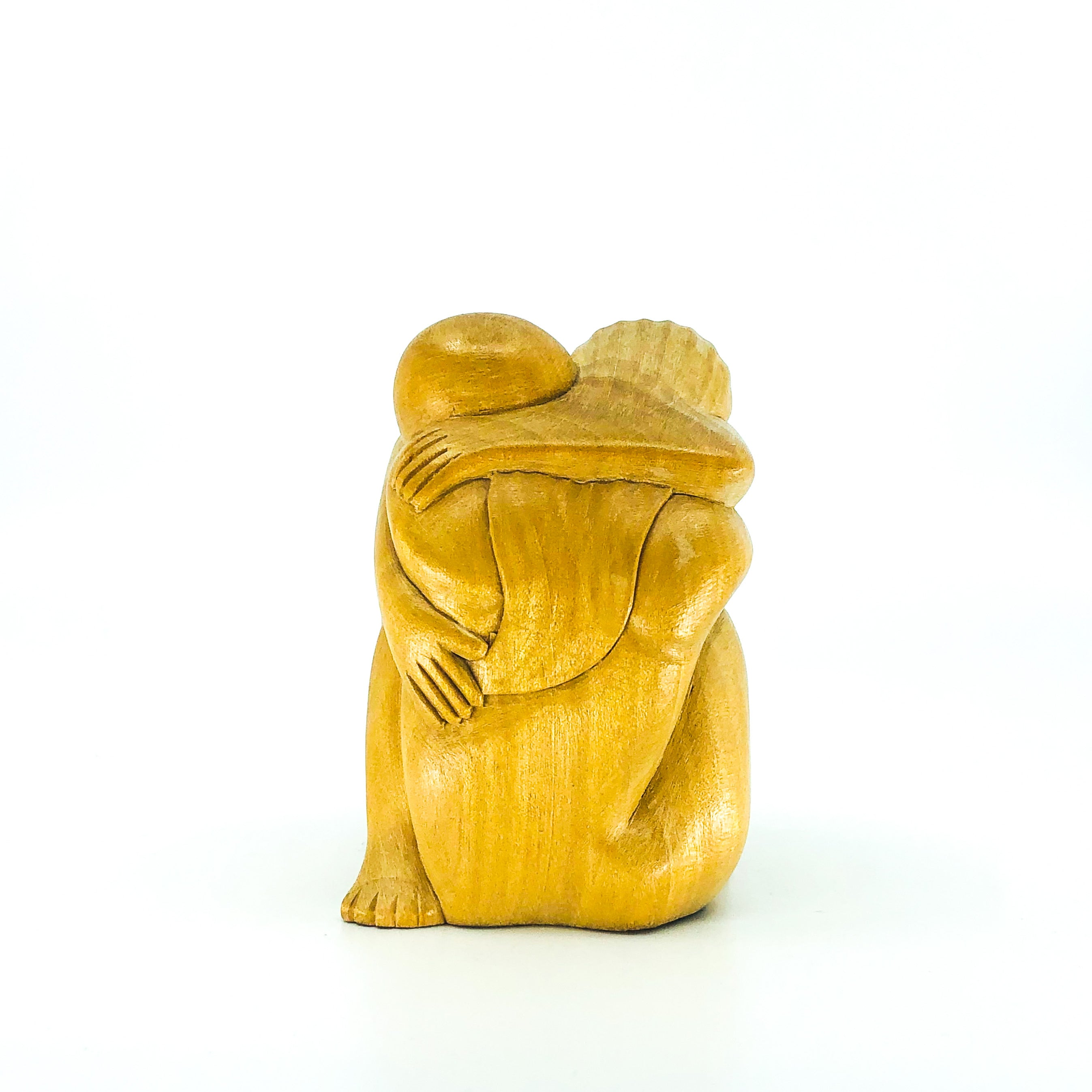 Hand Carved Wood Man & Woman Hugging