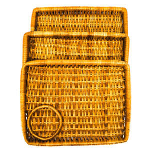 S/3 Vintage Small Woven Rattan Rectangle Serving Trays with Cup Holders