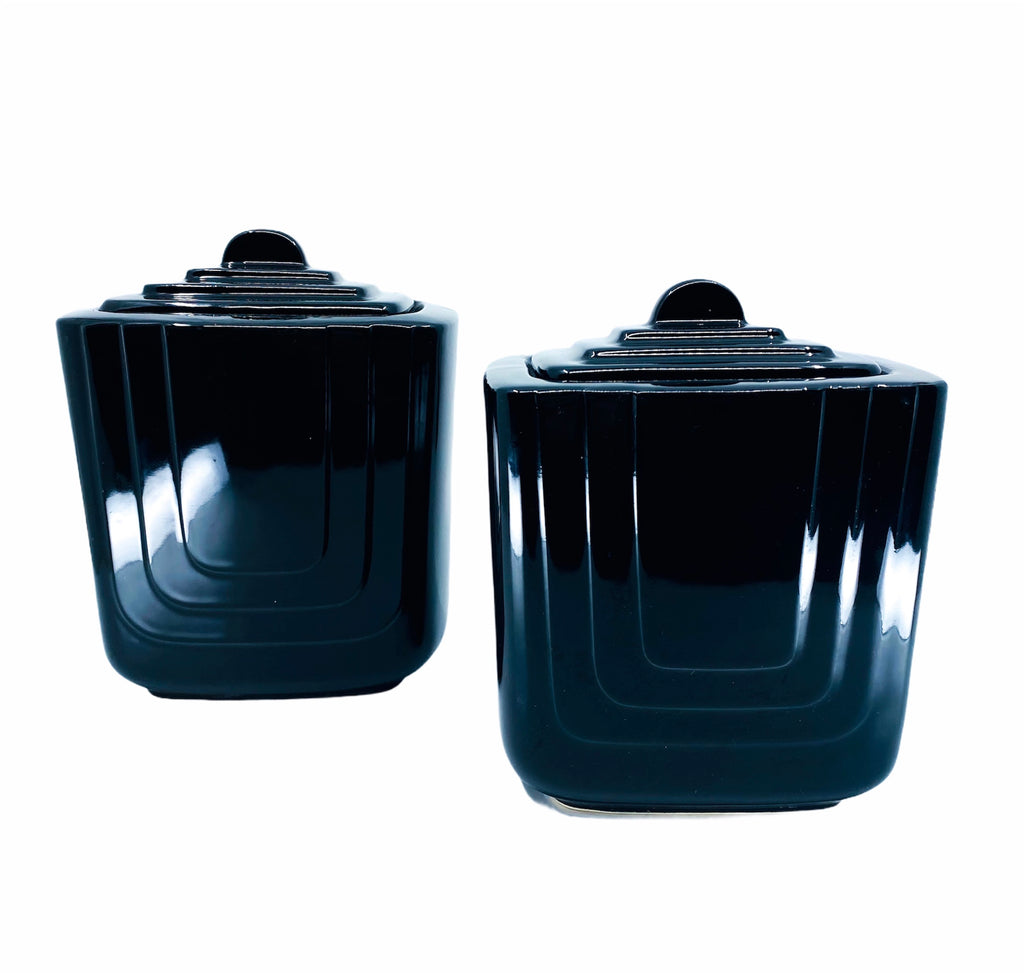 Pair of Black Art Deco Ceramic Canisters
