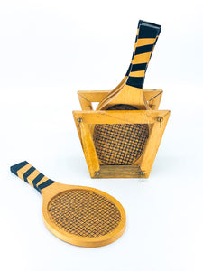 S/6 Vintage Wooden Tennis Racket Coasters