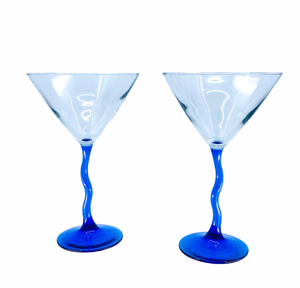 Blue Wiggly Stem Martini Glasses